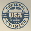 Grunge rubber stamp with name of Wyoming, Cheyenne, vector