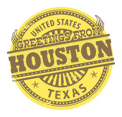 Grunge color stamp with text Greetings from Houston, vector