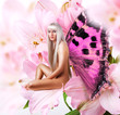 Beautiful sexy woman pixie on flower