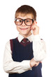 swot boy with glasses on a white