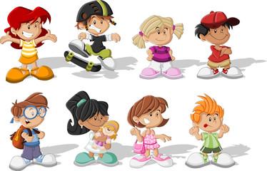Group of happy cartoon children