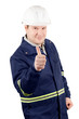 Portrait of young smiling engineer with a thumbs up