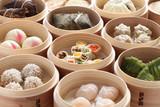 Fototapety yumcha, dim sum in bamboo steamer, chinese cuisine