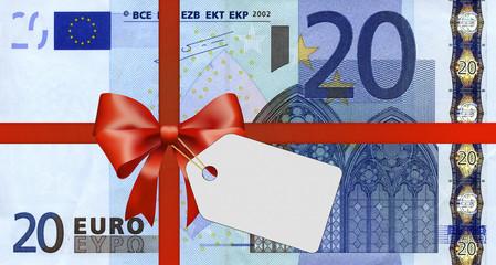20 Euroschein mit Geschenkband und Label