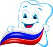Cheerful tooth with toothpaste