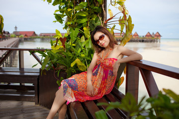 Chinese beauty with colorful one piece dress