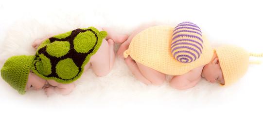 bébé habillé en tortue et bébé habillé en escargot