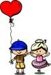 Постер, плакат: Валентина каракули мальчик и девочка векторные