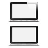 Realistic Notebook With Blank Screen. With And Without Reflectio