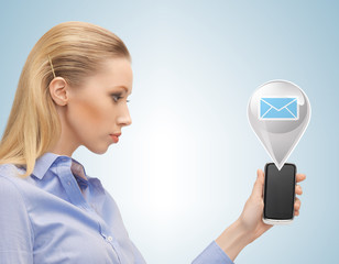 businesswoman with virtual text bubble