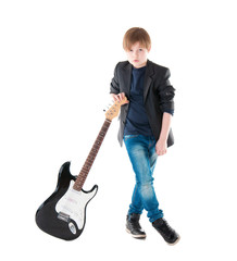 Handsome boy whit electric guitar