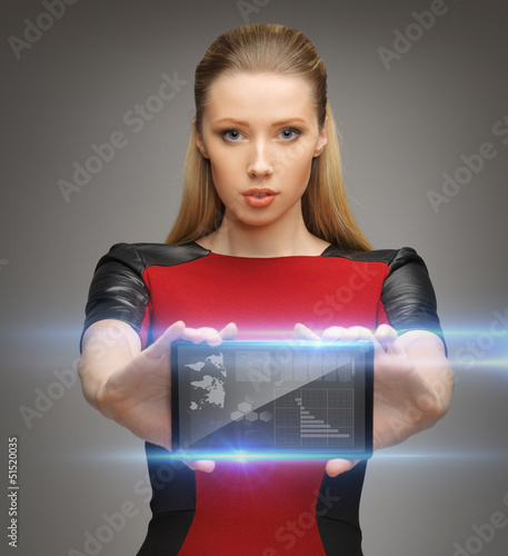 futuristic woman with tablet pc