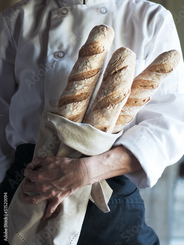Chef with Fresh Baguette