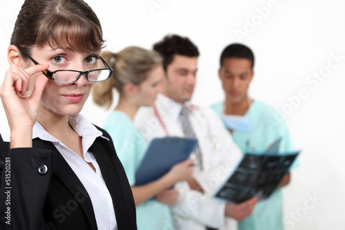 Hospital staff having discussion
