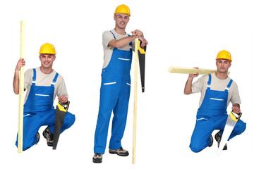 Three portraits of a carpenter