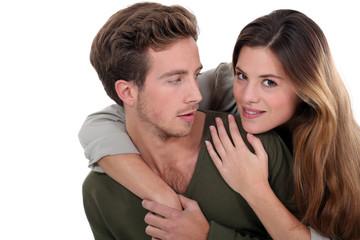 Woman surprising man