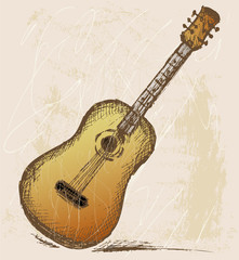 Classical guitar. Grunge style