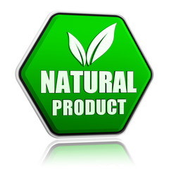 natural product with leaf sign in green button