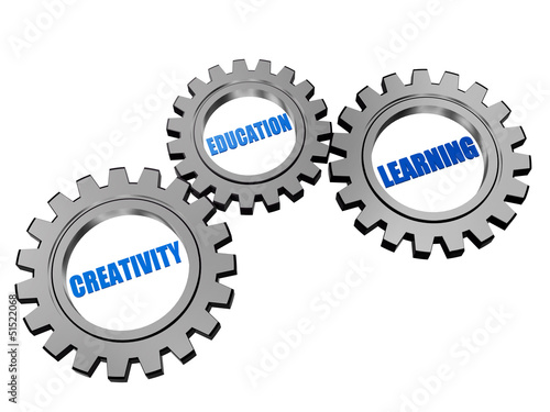 creativity, education, learning  in silver grey gears