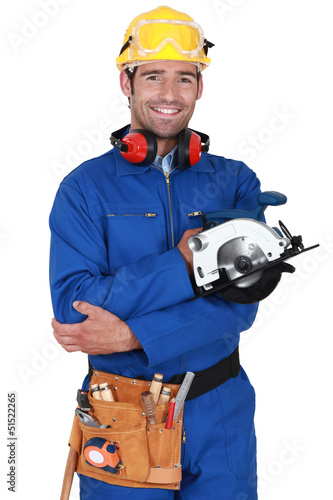 Builder with circular saw