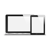 Realistic Notebook And Tablet PC With Blank Screen. With Reflect
