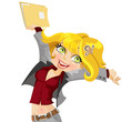 Cute girl  joyfully swings the folder with papers