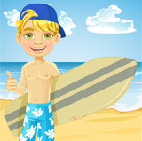Teen boy with a surfboard on a sunny beach