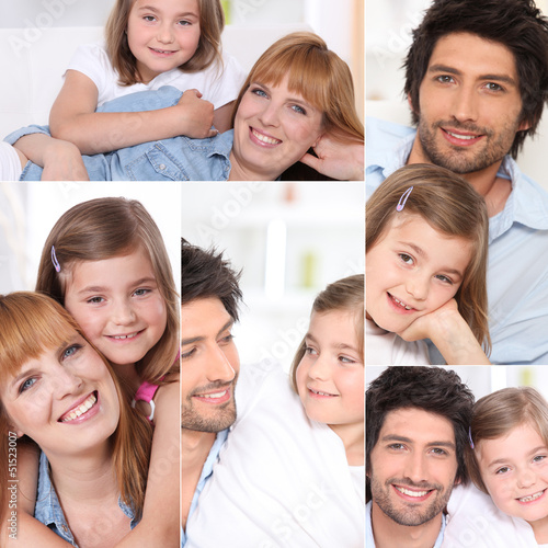 Collage of parents with little girl at home