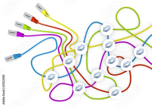 3d graphic of a friendly kiss icon nodes in network cable chaos