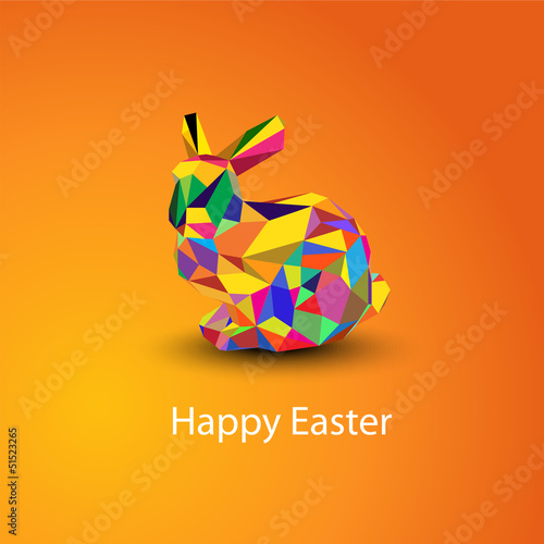 Origami Easter rabbit card at orange background