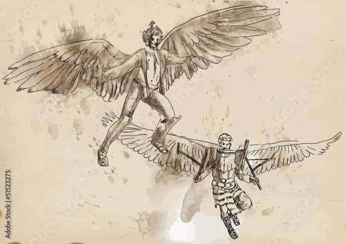 Icarus and Daedalus - drawing converted into vector