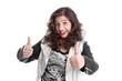 Überglückliche junge Frau - schwarz weiß isoliert