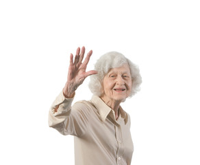 Happy Elder Lady Waving