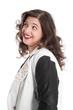 Fragender Blick einer jungen lachenden Frau