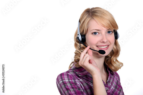 Young blonde receptionist