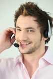 Cheerful call-center worker