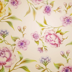 vintage peony flowers and leaves background