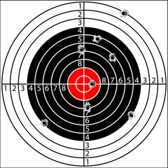 Shooting target with bullet holes, vector
