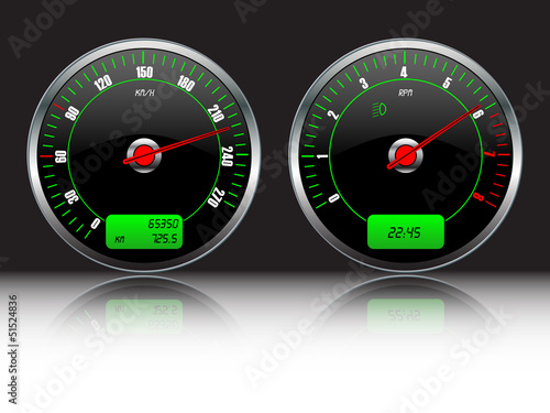 Car speedometer and RPM instruments,vector