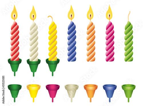 Bunte Geburtstags-Kerzen mit Halter