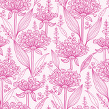 Pink lillies lineart seamless pattern background
