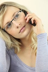 Female student on phone