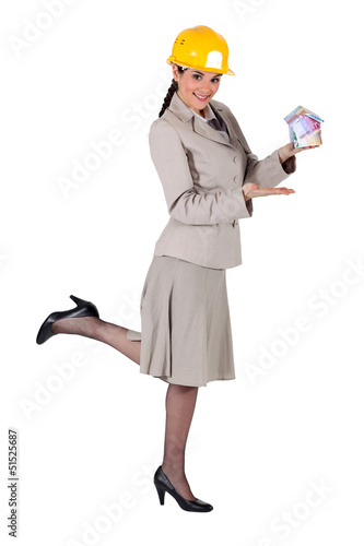 Woman entrepreneur on white background