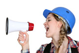 Female preaching with megaphone