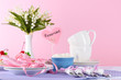 Tableware for tea drinking on bright background