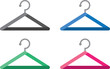 Various colored stylized hangers isolated