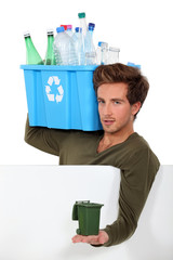 Man with empty bottles and containers