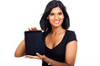 young businesswoman showing tablet computer
