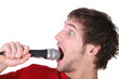 Man shouting into a microphone