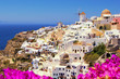 Beautiful classic view of Santorini Greece with flowers